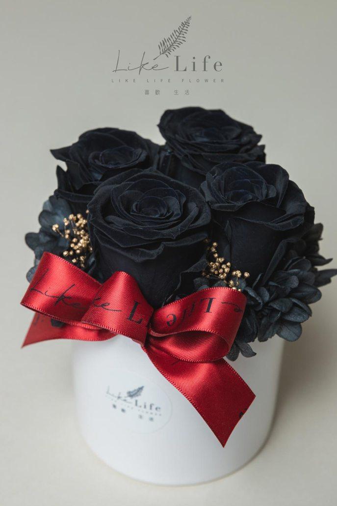 情人節永生玫瑰花盆栽特寫黑色,黑玫瑰,黑色玫瑰花