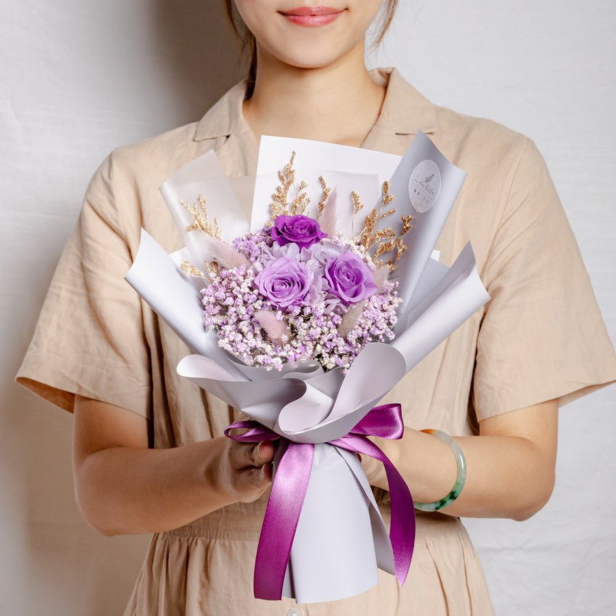 永生花束紫色,情人節花束,紫色永生花束,永生花束紫色,台北乾燥花店推薦