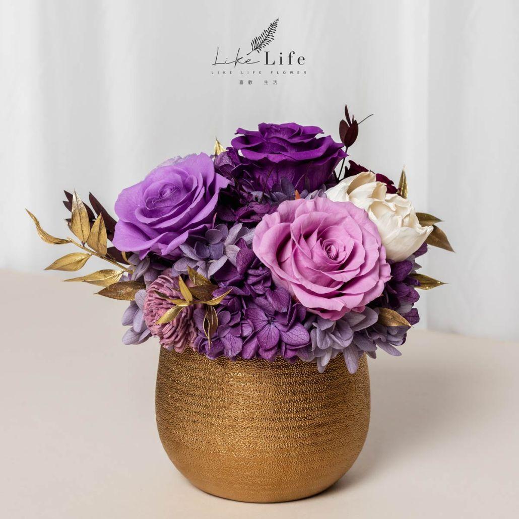開幕盆栽永生花紫色正面照金盆盆栽,開幕盆栽紫色