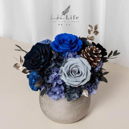 開幕盆栽永生花,銀盆開幕盆栽藍色,開幕盆栽黑藍色銀盆,台北喜歡生活乾燥花店