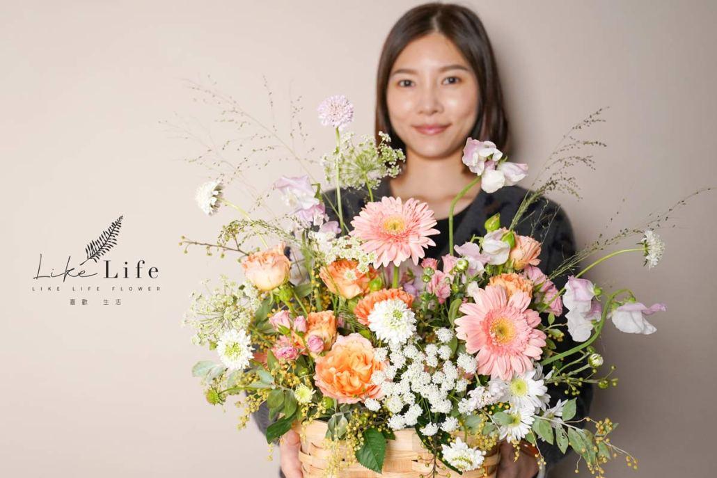 韓系花籃,韓式鮮花盆花,2021插花課程,花藝課程