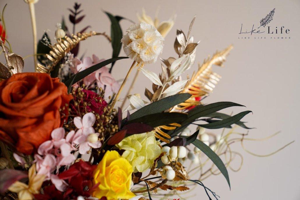 永生花盆栽課程,花藝教學永生花盆栽特寫,台北喜歡生活乾燥花店