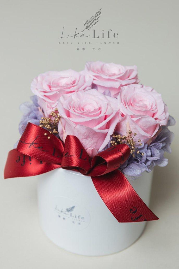 開幕盆栽四朵永生玫瑰花盆栽特寫粉紅色,開幕盆花粉色-喜歡生活乾燥花店