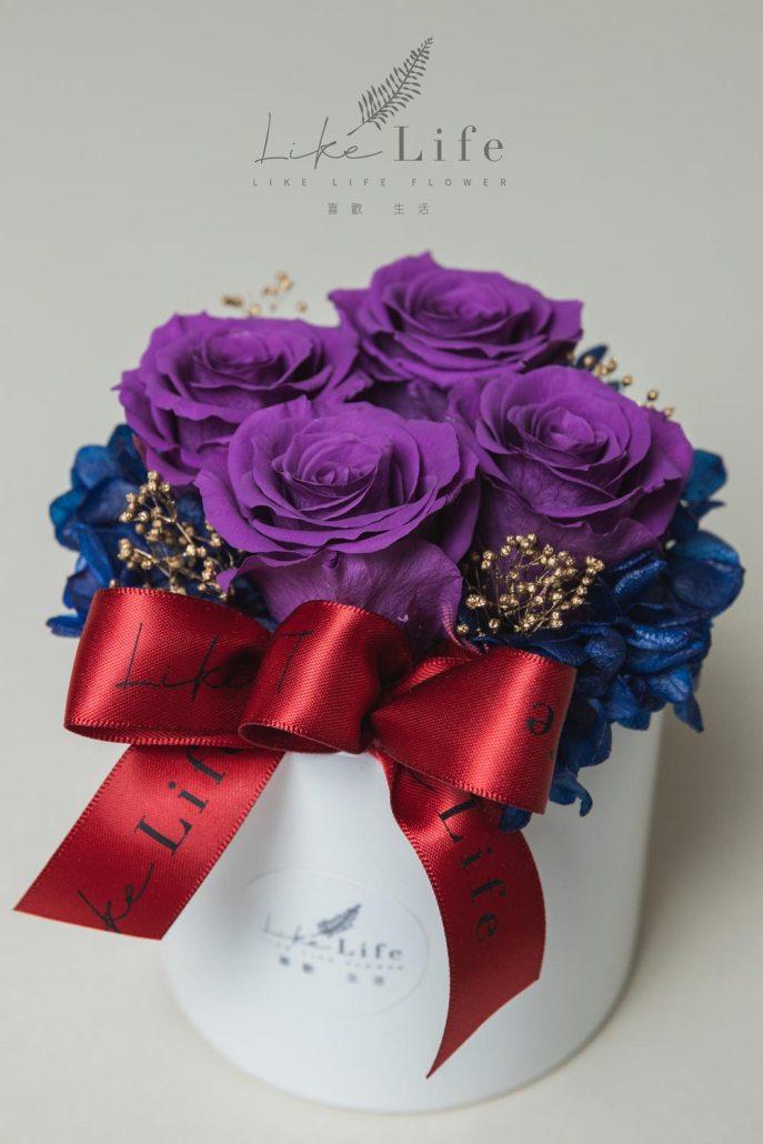 開幕盆栽四朵永生玫瑰花盆栽特寫紫色,永生花開幕賀禮,開幕盆花-台北喜歡生活乾燥花店