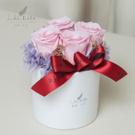 開幕盆栽四朵粉色永生玫瑰花盆栽粉色玫瑰花,粉色開幕盆花,開幕賀禮