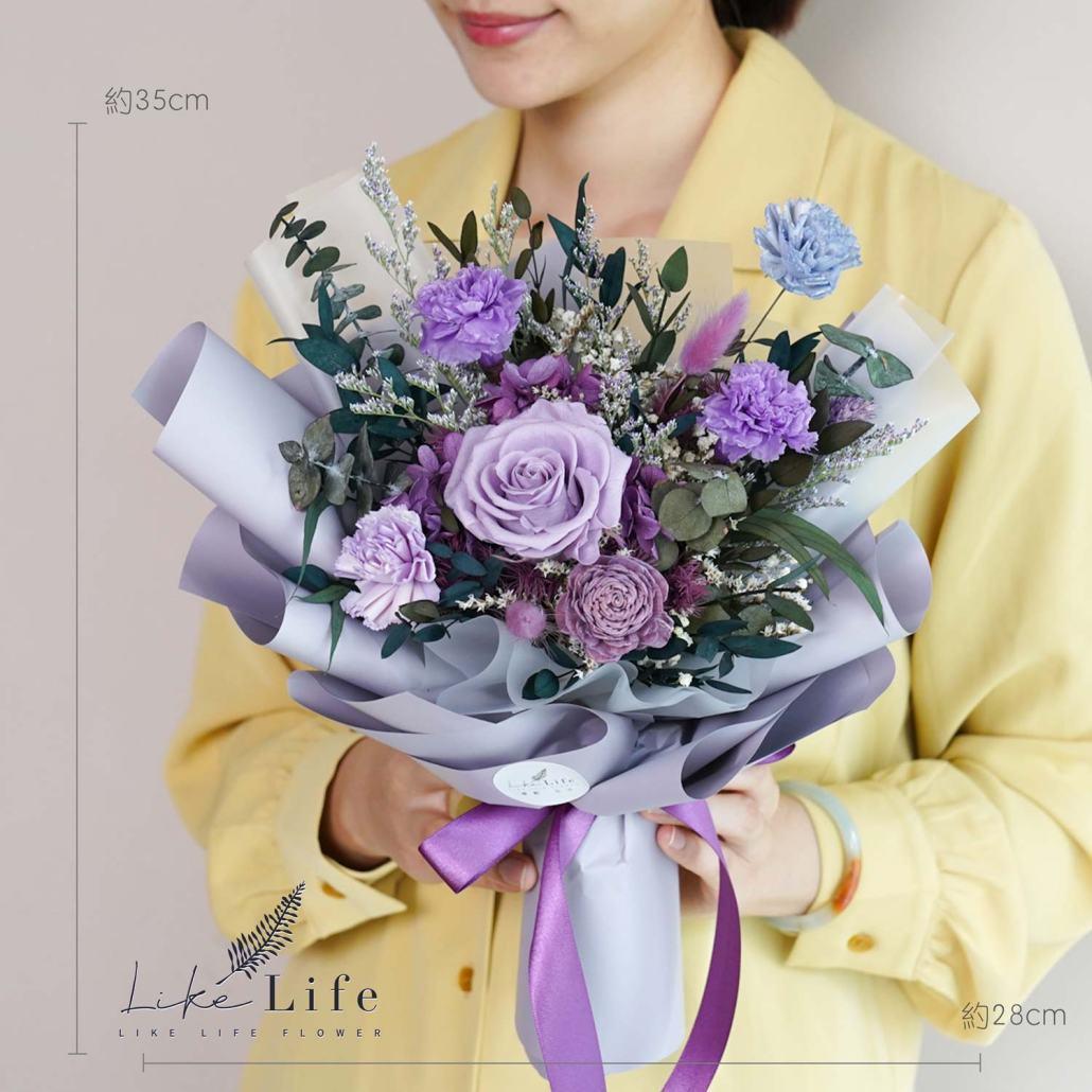 康乃馨花束-紫色永生花康乃馨花束特寫,母親節康乃馨花束台北,公分數照片