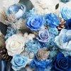 藍色大型盆栽永生花特寫