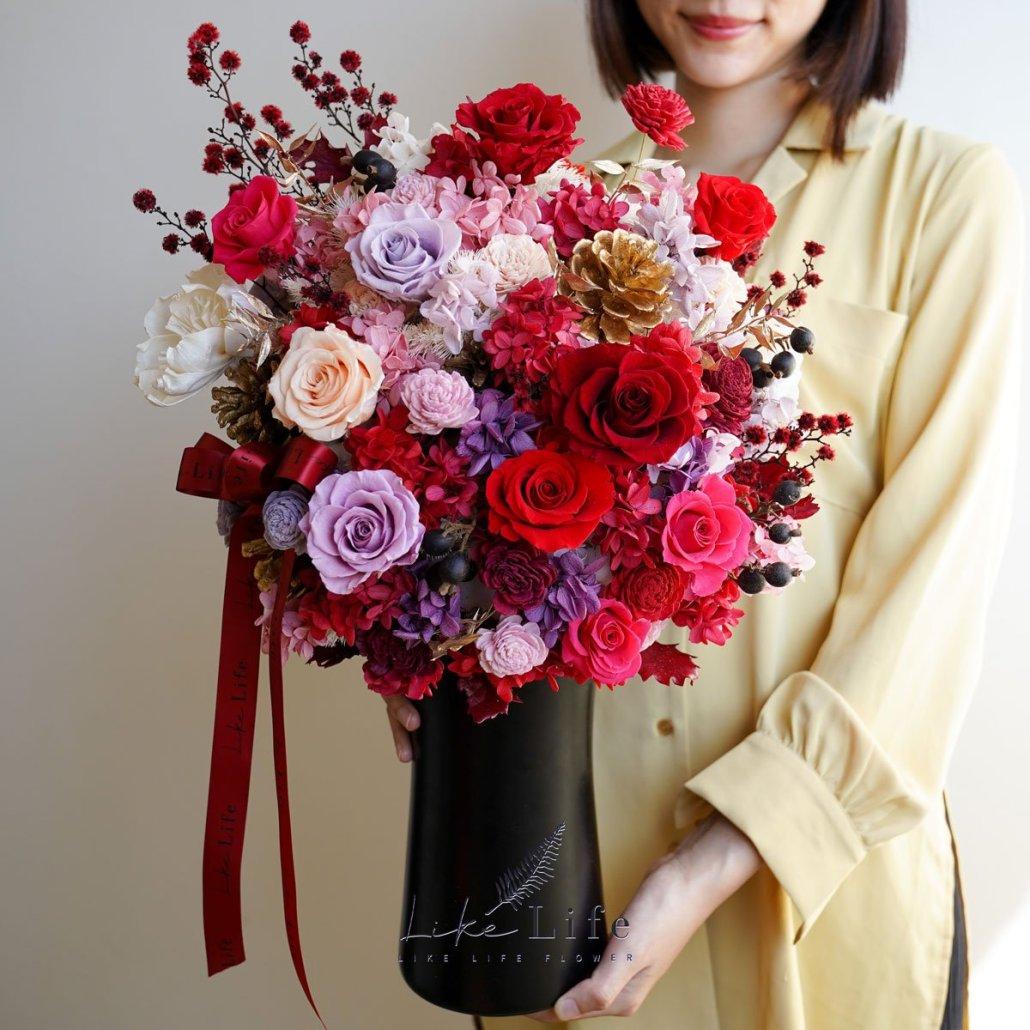 大型乾燥花盆栽-喜氣紅-永生花盆栽手拿