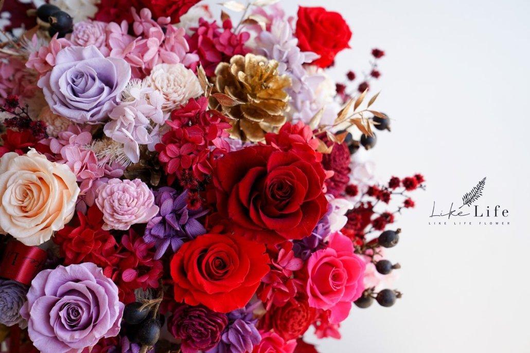 大型乾燥花盆栽-喜氣紅-永生花盆栽特寫