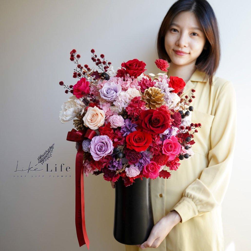 大型乾燥花盆栽-喜氣紅
