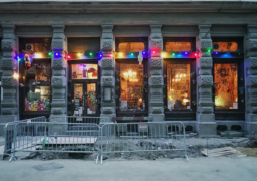 Colourful facade of a ruin bar in Budapest