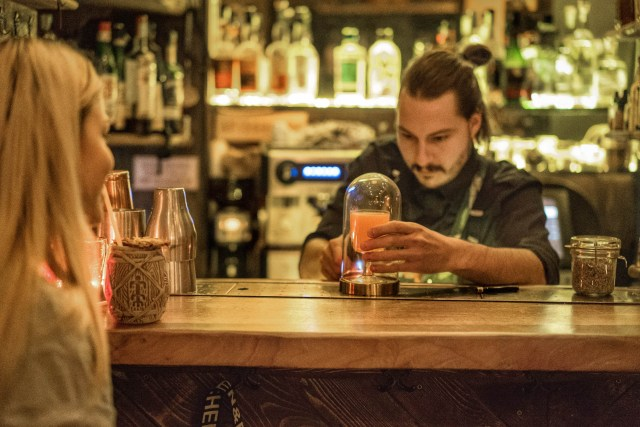 bartender making cocktail in budapest's 7th district