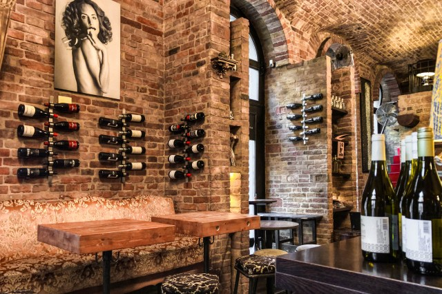 brick walled wine shop in budapest's 7th district