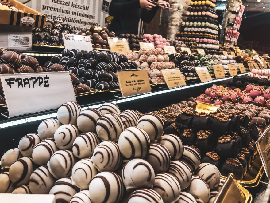 a stall selling different styles of chocolate treats at St Stephens Basilica Christmas Market