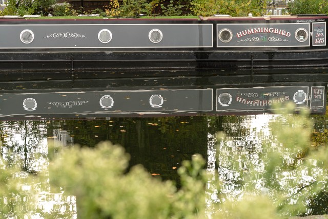 grey narrowboat called
