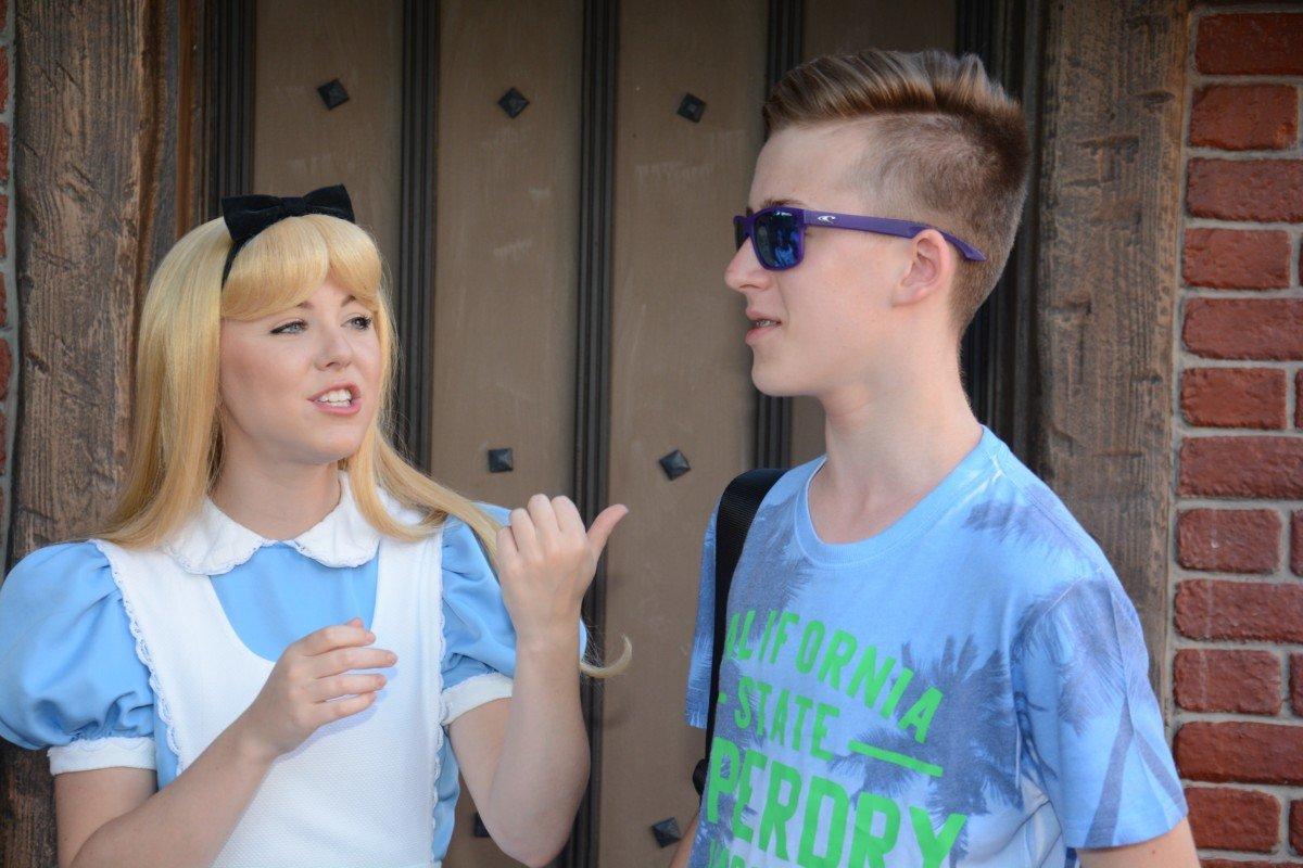 Teen and Alice in wonderland disney selfie