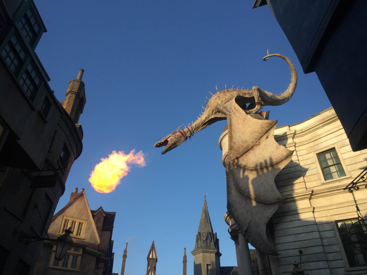 Harry Potter and the Escape from Gringotts fire dragon