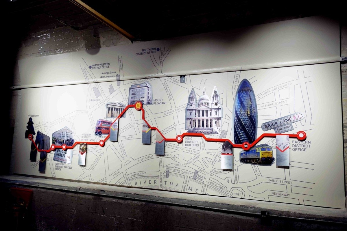 Underground map of the mail rail at museum