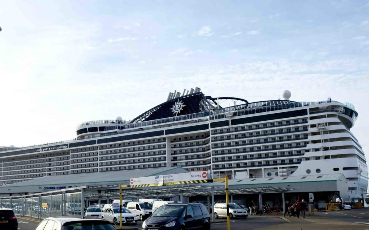 MSC Preziosa Cruise ship in port at Southampton