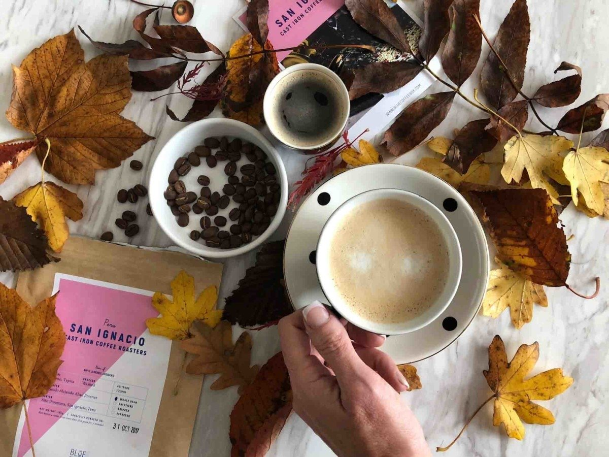 Blue Coffee Box Subscription flatlay photo autumn winter
