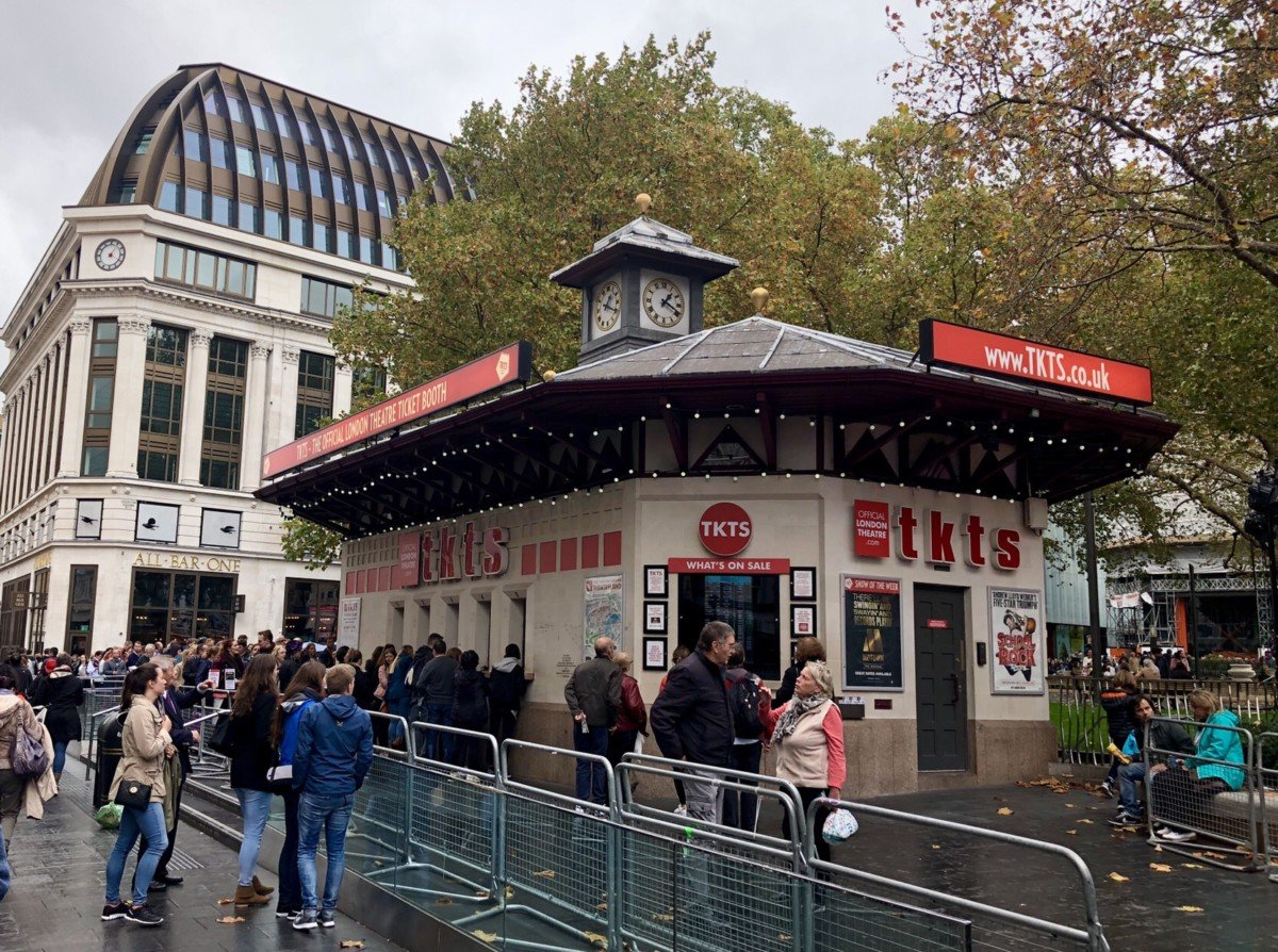 TKTS booth Leicester Square How to get cheap theatre tickets in London