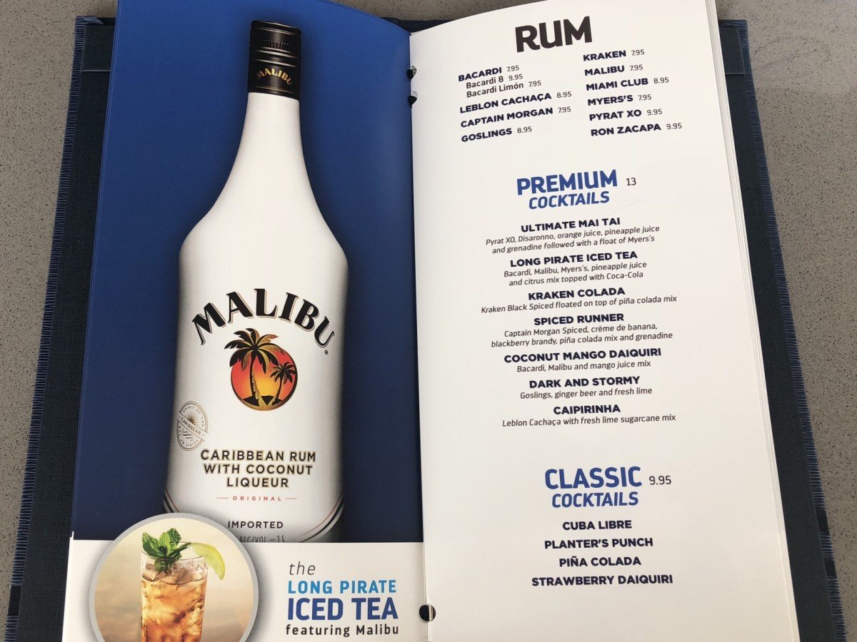 Bar Menu Symphony of the Seas Rum Cocktails