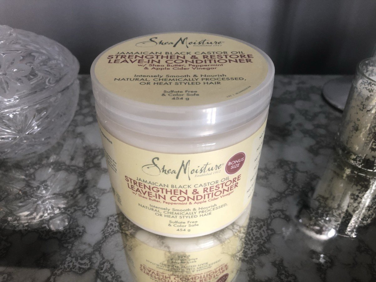 Shea Moisture strength and restore leave in conditioner.