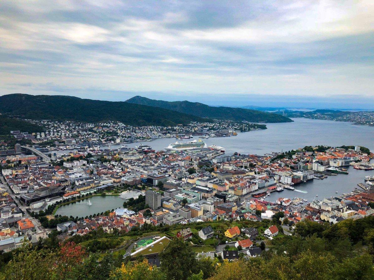 Bergen view from Mount Fløyen