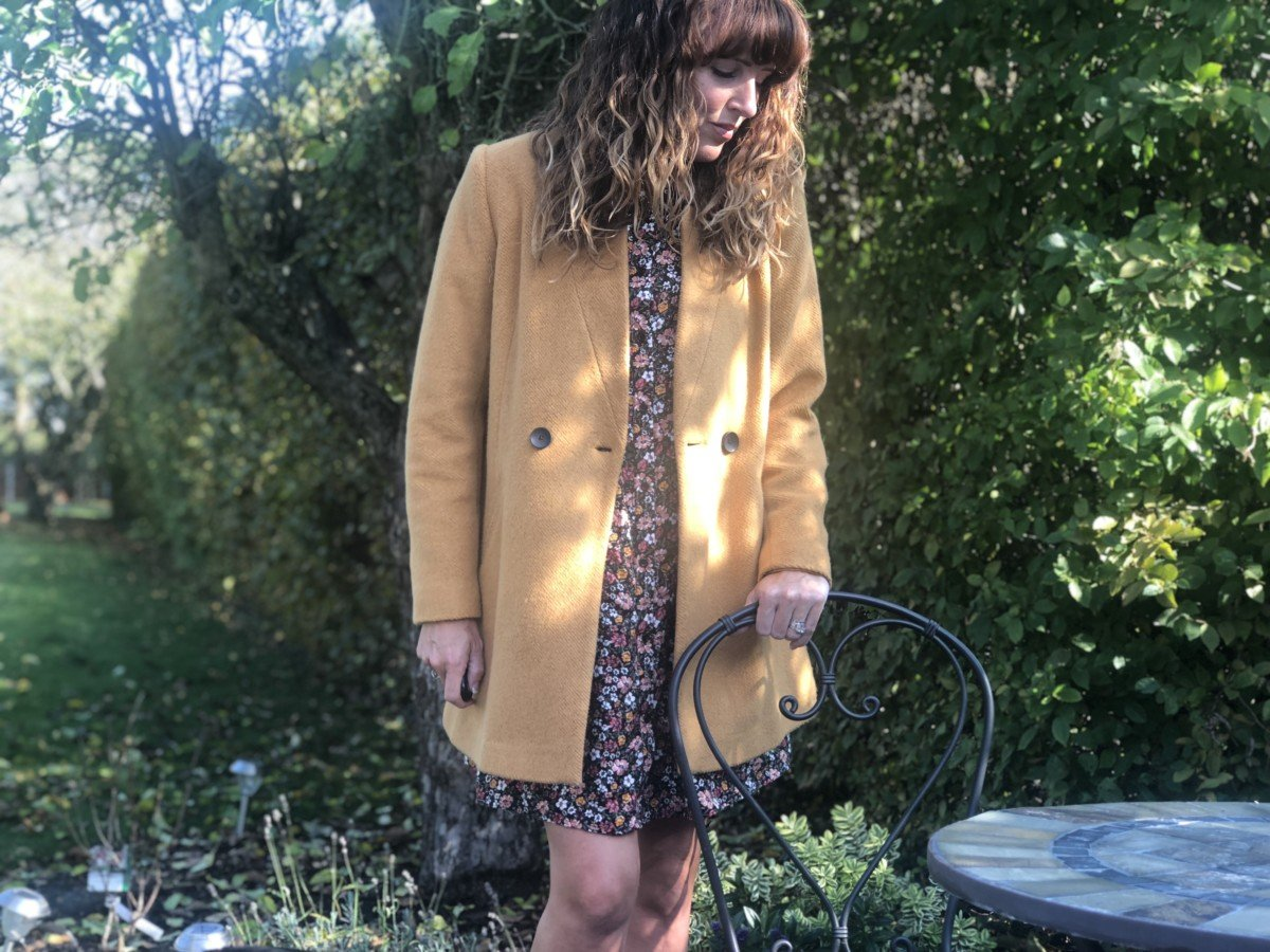 mustard Stradivarius coat costing