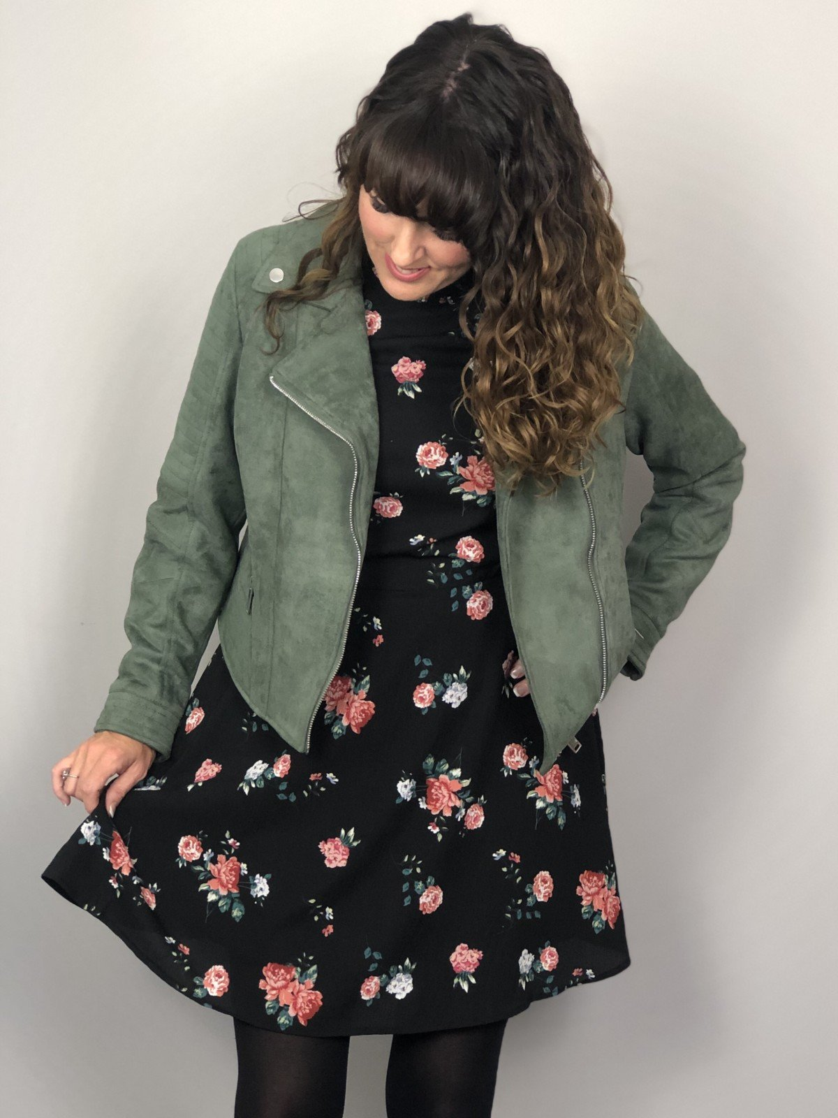 Floral tea dress and Suede khaki biker jacket