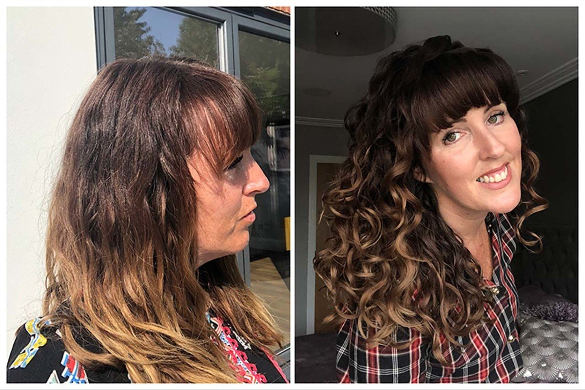 From begining to end curly girl method before and after picture