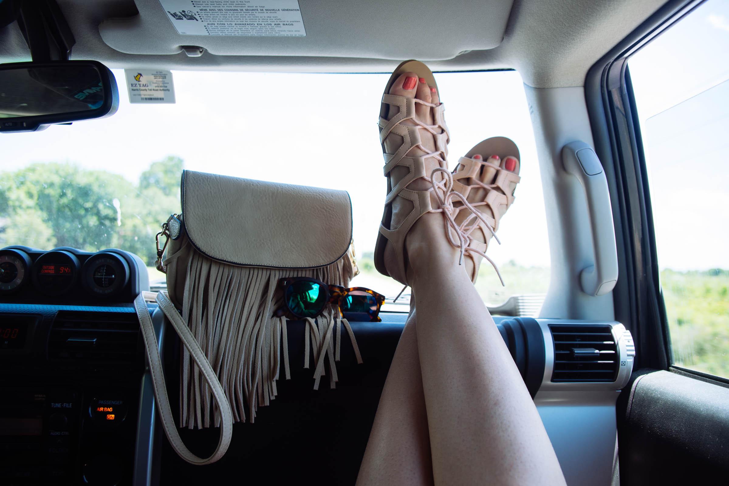 shoes and fringe purse