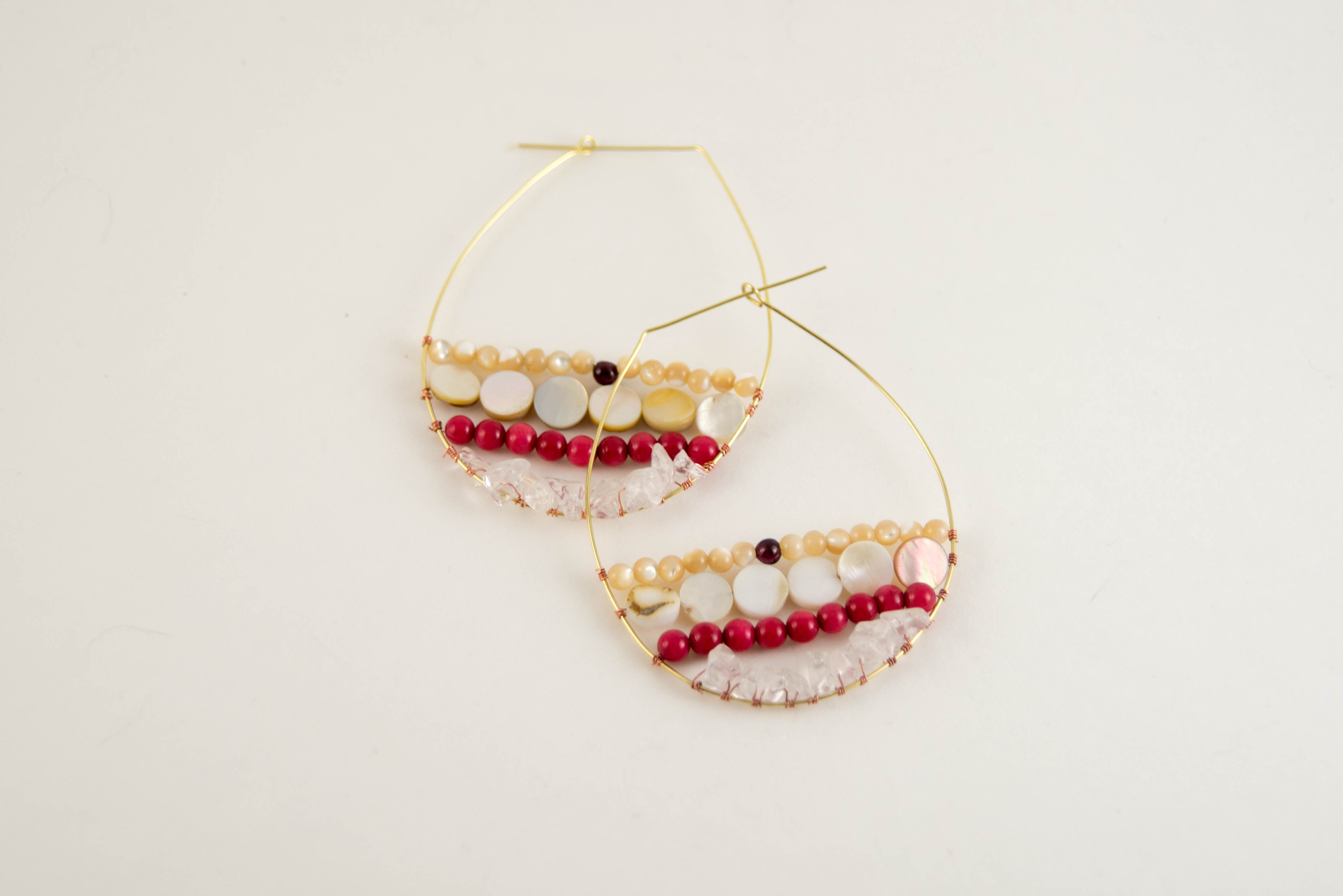 diy wire wrapped  beaded hoops