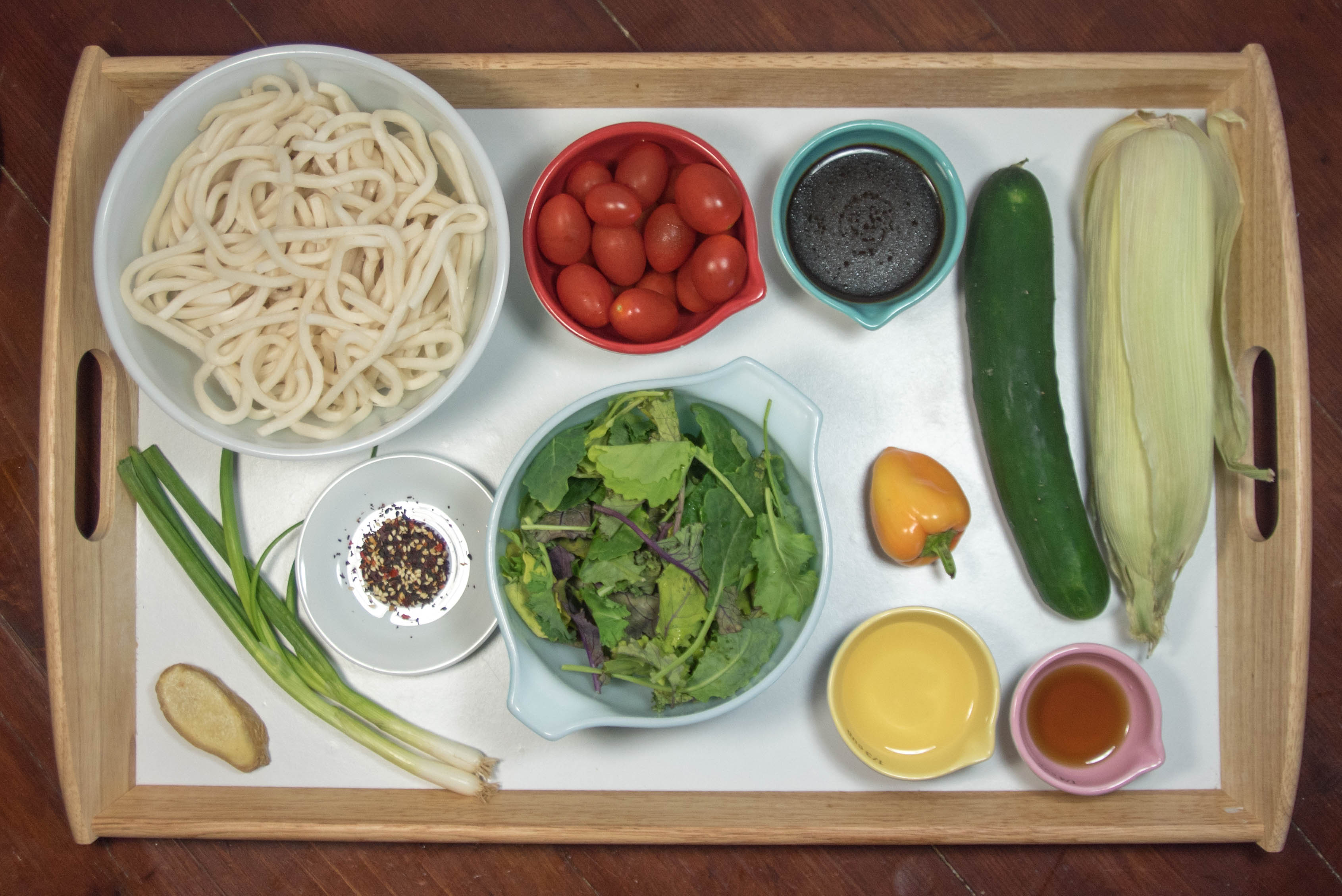 summer udon salad ingredients