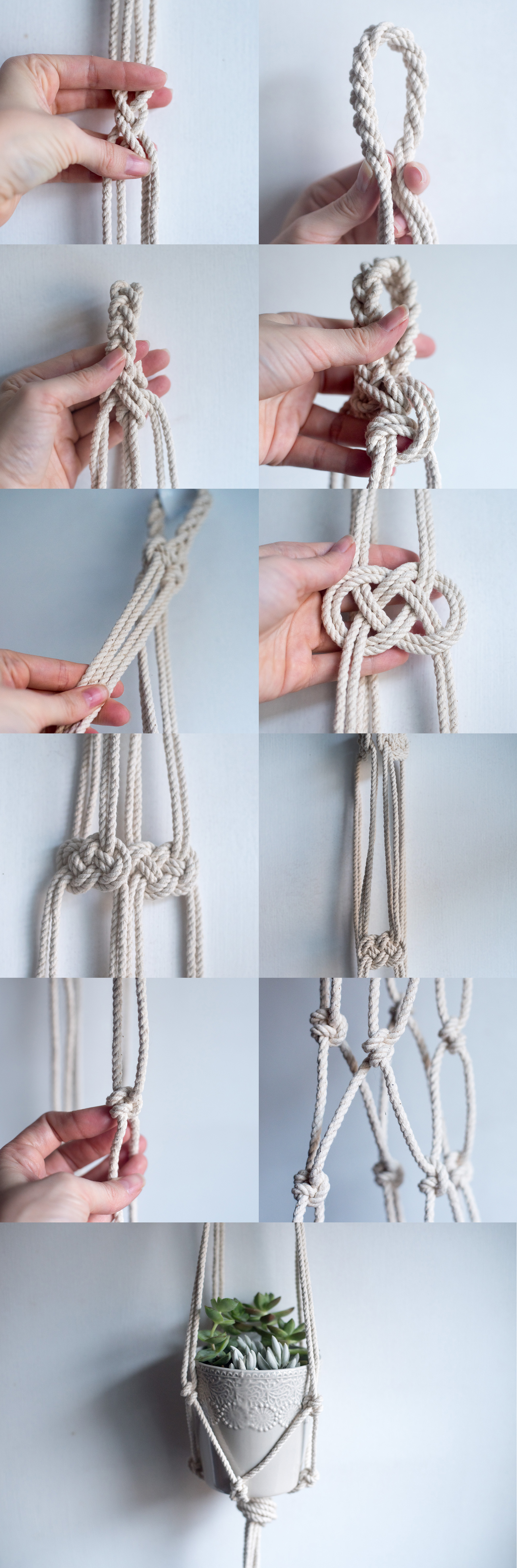 how to macrame hanging planter