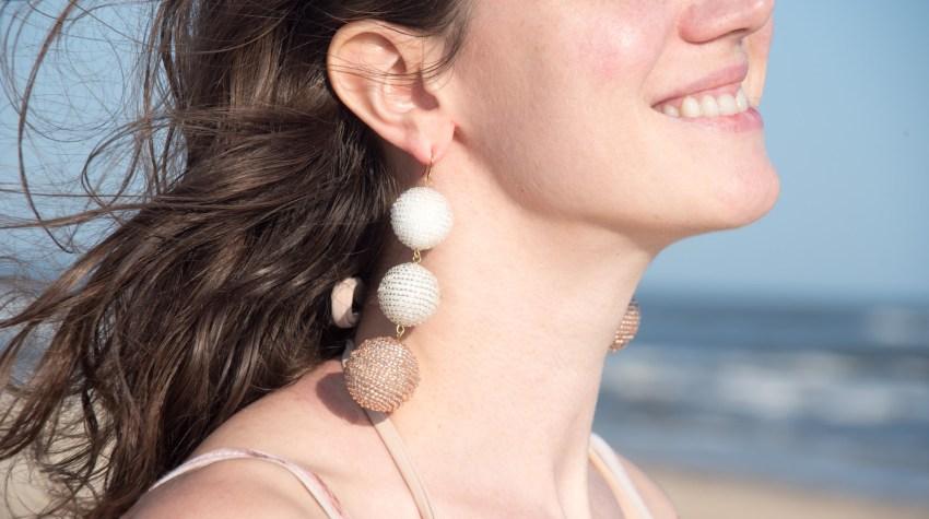 diy beaded ball drop earrings
