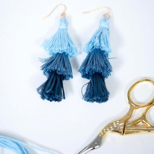 Fluff your fringe with these ombre stacked tassel earrings! DIYhellip