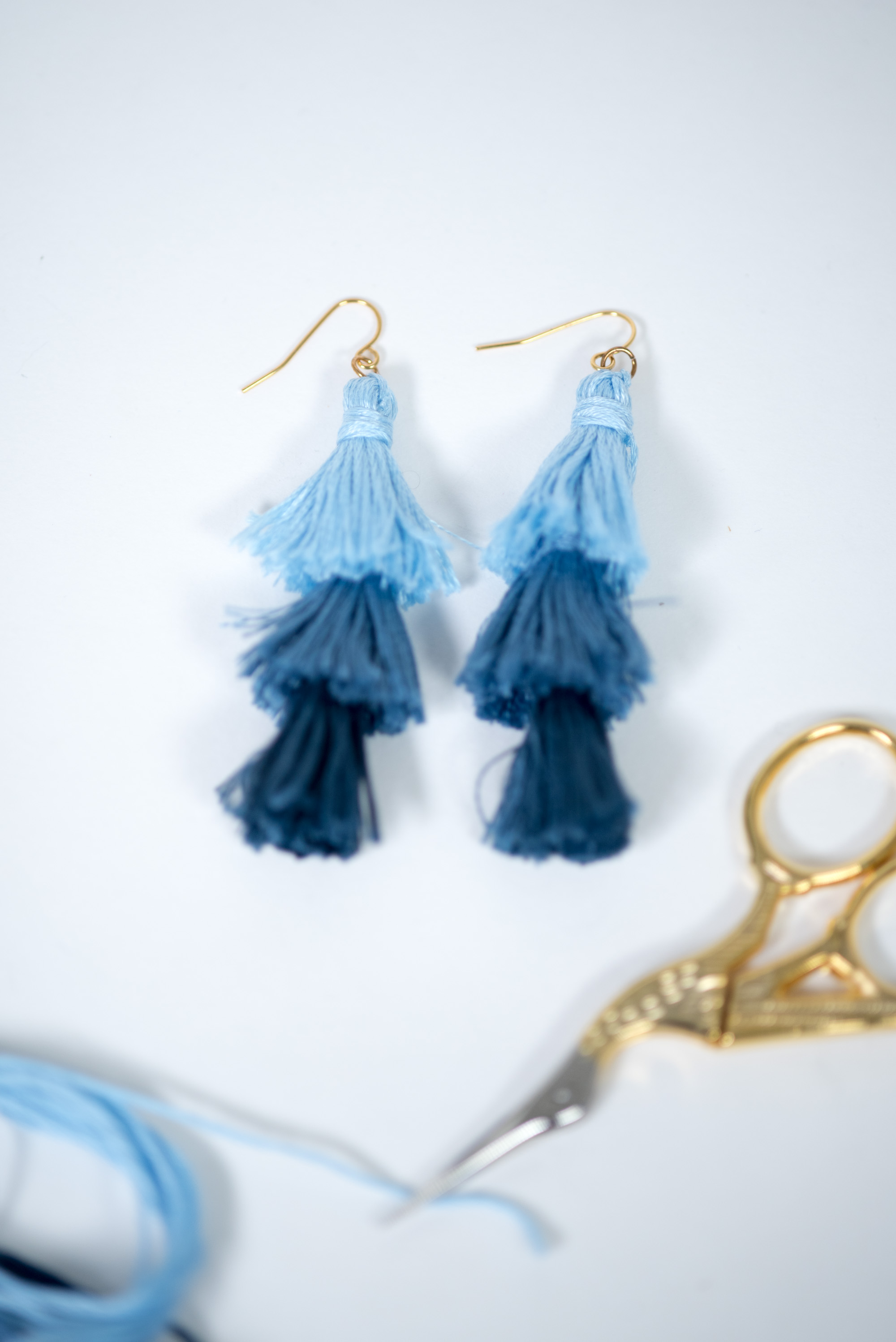 stacked tassel earrings tutorial