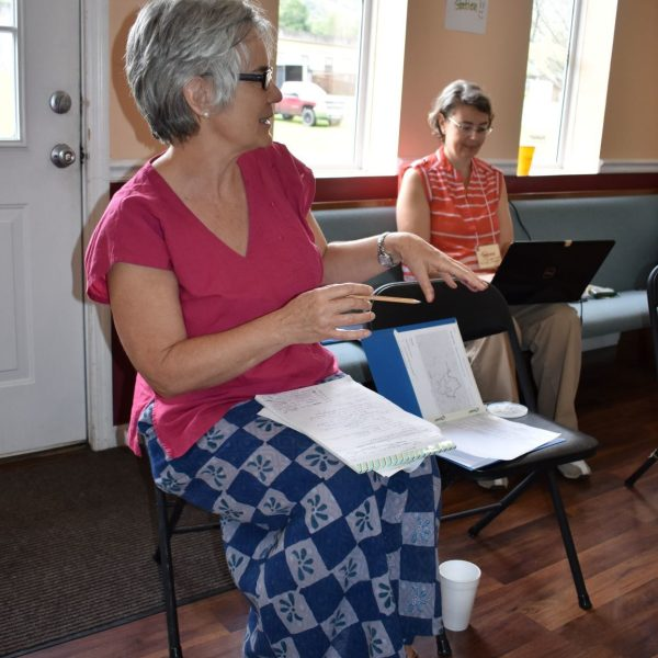 CAFTA Summit #2, Aug 24, 2019, Matewan WV.  L to R:  Betsy Taylor, Tammy Clemmons.  Photo by Trent Reid.