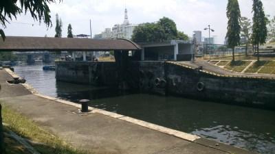 Behind the flood gate