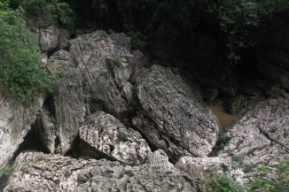 The rocks below