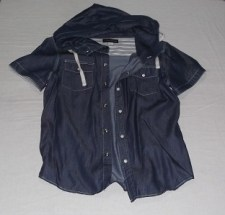 Blue Button Front Shirt with Hoodie, 101 New York