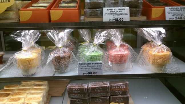 Their Toyohashi Pudding has five flavors now: (from l-r) original, chocolate, green tea, strawberry, and mango.