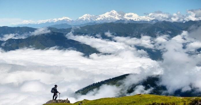 A trekker enjoying the beauty of Langtang Nepal