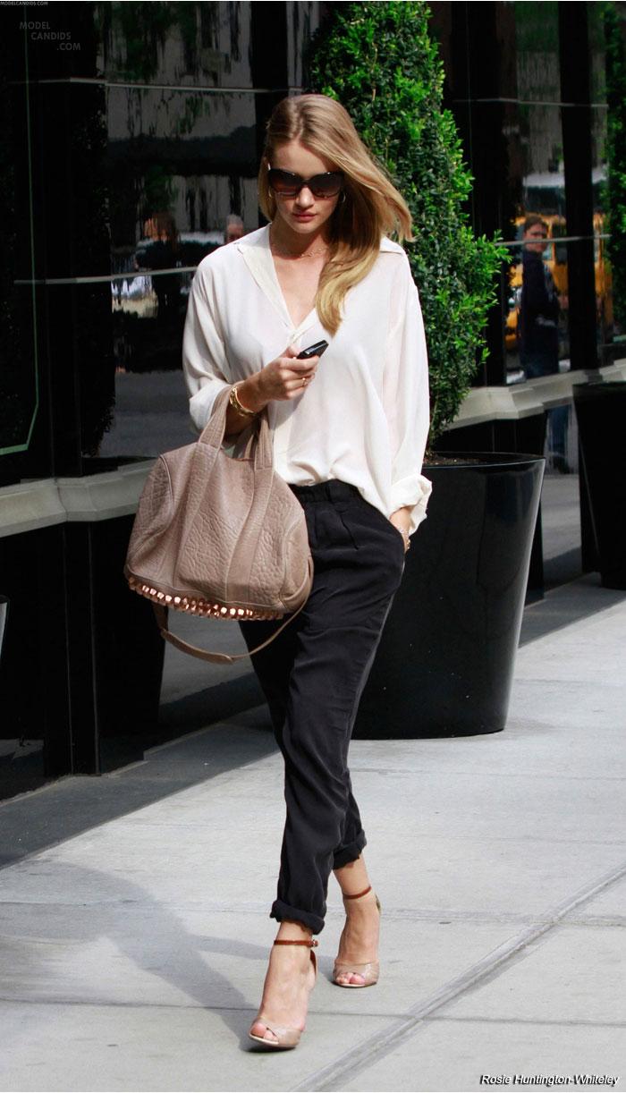 Street-Style-The-Perfect-Silk-Shirt-Rosie-Huntington-Whiteley