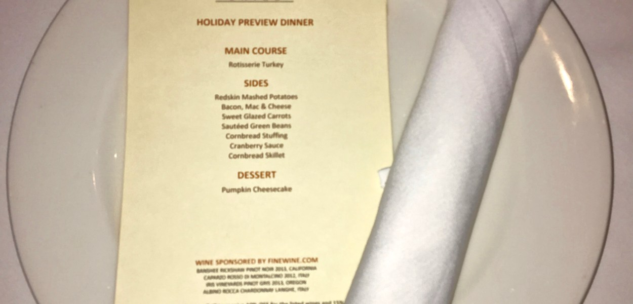 Home For The Holidays Menu