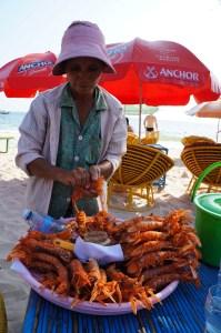 Lagostas de Serendipity Beach - melhores praias de Sihanoukville