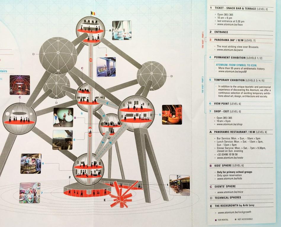 visitando o Atomium - tour do mapa oficial