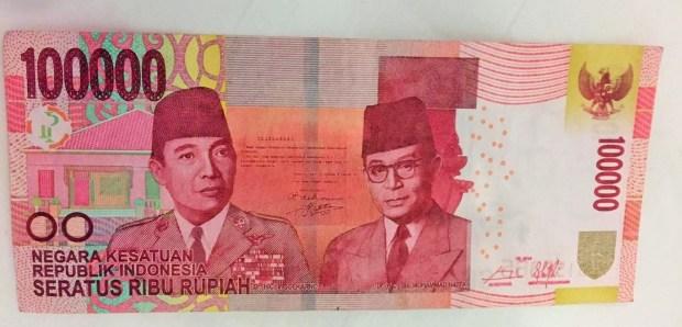 Nota de 100.000 rúpias