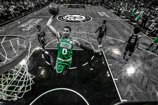 BROOKLYN, NY - JANUARY 14: Jayson Tatum #0 of the Boston Celtics dunks the ball against the Brooklyn Nets on January 14, 2019 at Barclays Center in Brooklyn, New York. NOTE TO USER: User expressly acknowledges and agrees that, by downloading and or using this Photograph, user is consenting to the terms and conditions of the Getty Images License Agreement. Mandatory Copyright Notice: Copyright 2019 NBAE (Photo by Nathaniel S. Butler/NBAE via Getty Images)